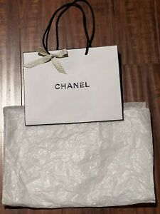 CHANEL White & Black Paper Shopping/Gift Bag With Tissue Paper & Ribbon