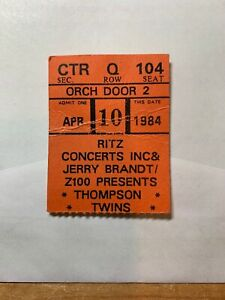 Thompson Twins Ticket. 1984 Ritz Manhattan