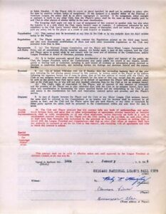 Clauson Vines Signed AUTO 1936 Chicago Cubs Baseball Contract w/ Phillip Wrigley