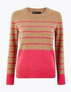 M&S soft lambswool rich jumper Size 12 Camel & pink. Crew neck Long sleeved BNWT