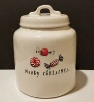 RAE DUNN  Magenta  MERRY CHRISTMAS Candy Cookie Jar Canister with Lid  CERAMIC