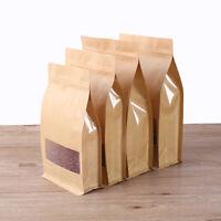 Flat Bottom Standing Kraft Paper Bag Window Zip Lock Heat Seal Food Grade Pouch