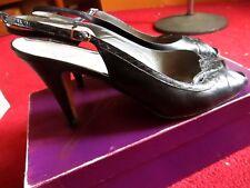 9.5N 9.5 N Vtg 70's Womens Garolini Italian Heels Peep Leather Shoes In Box