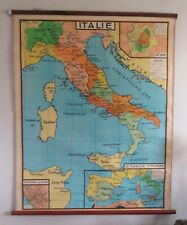 A BEAUTIFUL ORIGINAL VINTAGE MAP OF  ITALY CIRCA 1960 130cm x 110cm