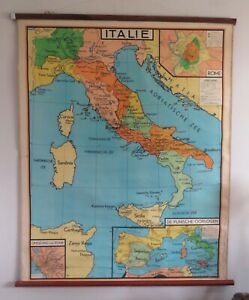 A BEAUTIFUL ORIGINAL VINTAGE MAP OF  ITALY CIRCA 1960 130cm x 110cm