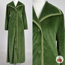 GREEN VELOUR 1970s VINTAGE BOHO ROBE HOUSE-DRESS 16