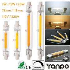 Tubo de vidrio R7S LED Bombillas Regulable 7W 15W 28W 78/118mm Lámpara Halógena reemplazar