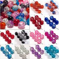Lot de 30 Perles Craquelées en Verre 8mm Couleurs au choix