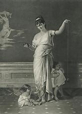 ANTIQUE ROMAN GRECIAN SANDLES WOMAN POMPEII CHUBBY CHILDREN CHERRIES FRUIT PRINT
