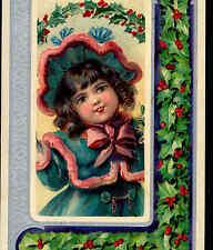 BRUNDAGE...CHARMING CHRISTMAS GIRL WEARS WINTER HAT,VINTAGE FASHION,POSTCARD