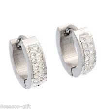 1Pair Stainless Steel Silver Tone Hoop Earrings With White Zircon