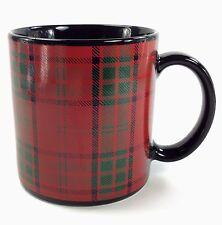 PIER 1 Tartan Plaid Coffee Tea Mug Red Green Black Handcrafted