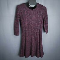 Cloud Chaser Womens Sweater Dress Medium Purple Long Sleeve Fit & Flare
