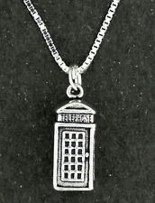 British Telephone Booth Pendant Necklace Sterling Silver 18 Inch Box Chain