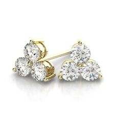 18Carat Gold Three Stone Diamond Cluster Studs 0.90 carats H-VS