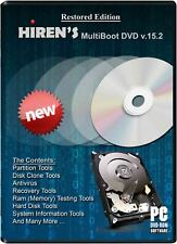 HIREN'S BOOT RECOVERY DVD DISC FOR WINDOWS XP VISTA 7&8 WINDOWS REPAIR DISC 15.2