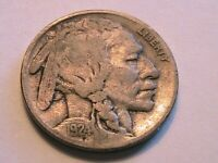 1924-P Buffalo Nickel Nice (F) Fine Grey Toned Original Indian Head 5 Cent Coin