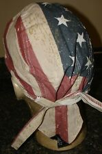 Distressed Red White Blue American Flag USA  Doo Rag head wrap Skull Cap Durag