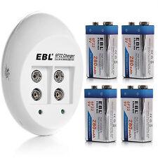 4x 9V NI-MH Rechargeable Battery + Charger for 9 Volt Li-ion Ni-CD Ni-MH