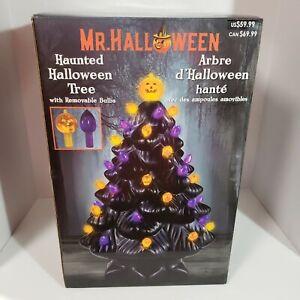 """Mr Halloween Ceramic Tree Haunted Black 14"""" NEW Pumpkin LED Lighted Mr Christmas"""
