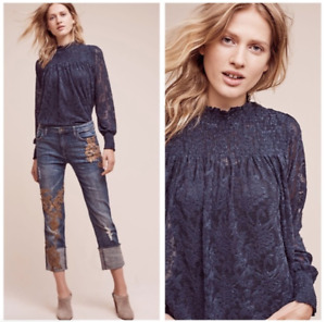Anthropologie Deletta Amanna Navy Blue Lace Blouse Size M