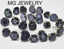 300 Pcs Black Color Solar Quartz Druzy Gemstone .925 Silver Overlay Prong Rings