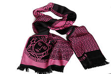NEW $375 Versace 100% Wool Black / Pink Medusa Sciarpa Scarf Authentic Unisex