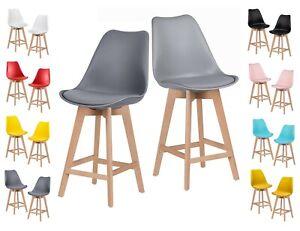 Wood Bar stool Plastic seat with PU cushion Bar, kitchen breakfast, wooden legs