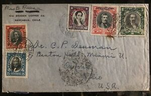 1933 Rancagua Chile Airmail Commercial cover to Oxford OH USA Via Santiago
