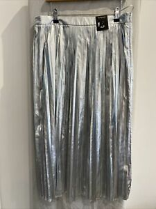 AUTOGRAPH Silver Pleated Midi Skirt Size UK 16