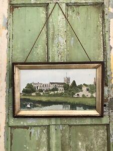 Landscape  Church River Original Naïve Painting LOVELY OLD ORIGINAL FRAME