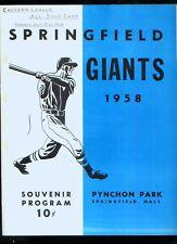 *1958 Eastern League All-Star Game minor league baseball program @Springfield