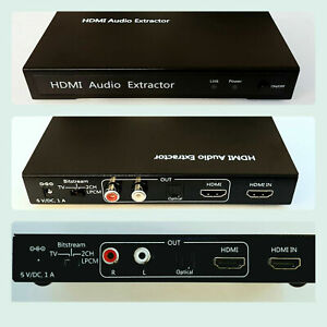 HDMI to Optical and Twin Phono Audio Extractor L/R + Power Adaptor / DVD Blu-ray