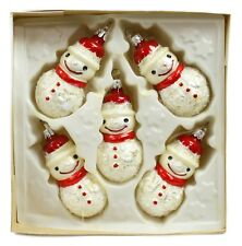 White Red Snowman Vintage Handblown Eastern Europe Glass Christmas Ornament Set
