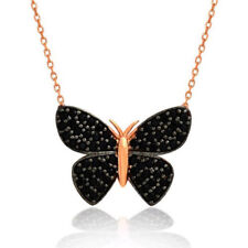 Solid 925 Sterling Silver Black Onyx Stone Butterfly Necklace