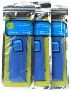 3 Packs i m Active Maximum Holding Power Blue Activated Head Wrap No Slip Hair