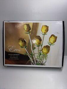 Eros Rose Bouquet- Set Of 6 Handmade Glass Roses Spring Bouquet