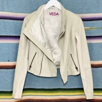 Veda Leather Jacket Sz XS Beige Asymmetrical Draped Full Zip Pockets Knit Panels