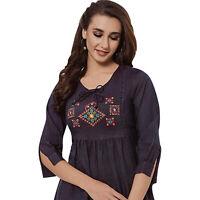 Women Indian Pakistani Kurti Kurta Short Embroidery Rayon Top Shirt Tunic Dress
