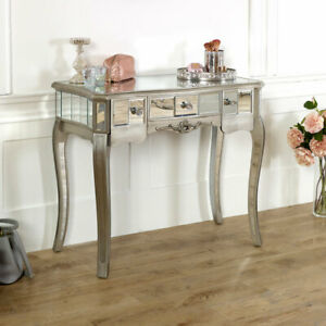 Silver Mirrored Console Dressing Table Shabby Vintage Chic Bedroom Living Room