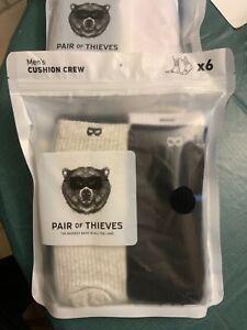 """Men's Cushioned """" Pair of Thieves """" CREW Socks 6 Pairs Moisture Wicking"""
