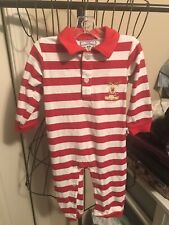 Size 18 Months Red And White Striped Snap Up One Piece Outfit By Three Sisters