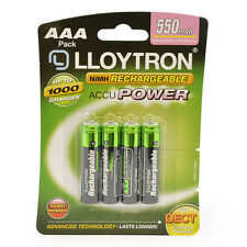 4Pk AAA 550mAh NiMH Rechargeable Accu Power Batteries Upto 1000 Charge LR03 B014