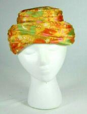 Vintage 1960s Satin Mod Orange Yellow Floral Fancy Party Church Pillbox Hat