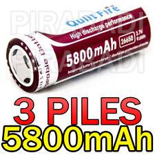 3 PILES ACCUS RECHARGEABLE BATTERIE 26650 5800mAh 3.7V Li-ion BATTERY