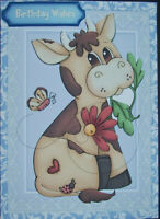 HANDMADE 3-D  BIRTHDAY GREETING CARD  WITH A SENTIMENT & A BULL I LOVE THIS CARD