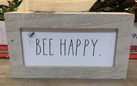 "Rae Dunn - BEE HAPPY - Wood Standup Sign - 9""L x 5""H x 2""D"