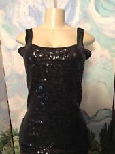 Old Navy L Solid Black Sequin Scoop Neckline Cotton Blend Sleeveless Tank Top