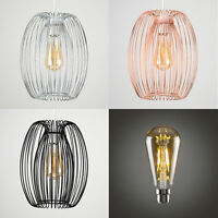 MiniSun Industrial Wire Caged Non Electric Easy Fit Ceiling Light Shade LED Bulb