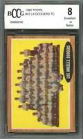 1962 topps #43 LOS ANGELES DODGERS TC team card (CENTERED) BGS BCCG 8